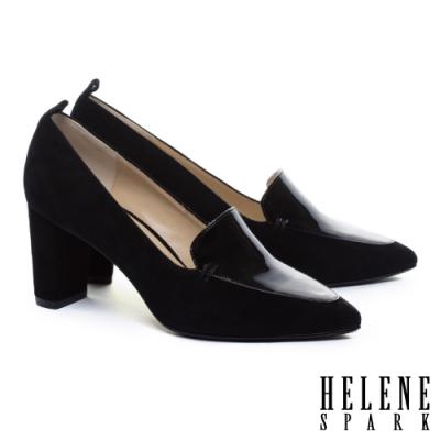 高跟鞋 HELENE SPARK 知性時尚異材質拼接尖頭粗高跟鞋-黑
