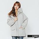 H:CONNECT 韓國品牌 女裝-雙口袋縮口連帽外套-灰