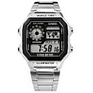 CASIO 卡西歐復古方形計時碼錶不鏽鋼手錶-灰黑色/40mm
