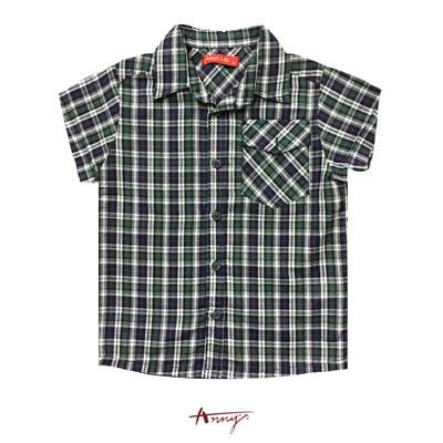 Annys英倫格紋翻領單邊造型口袋襯衫*9381藍