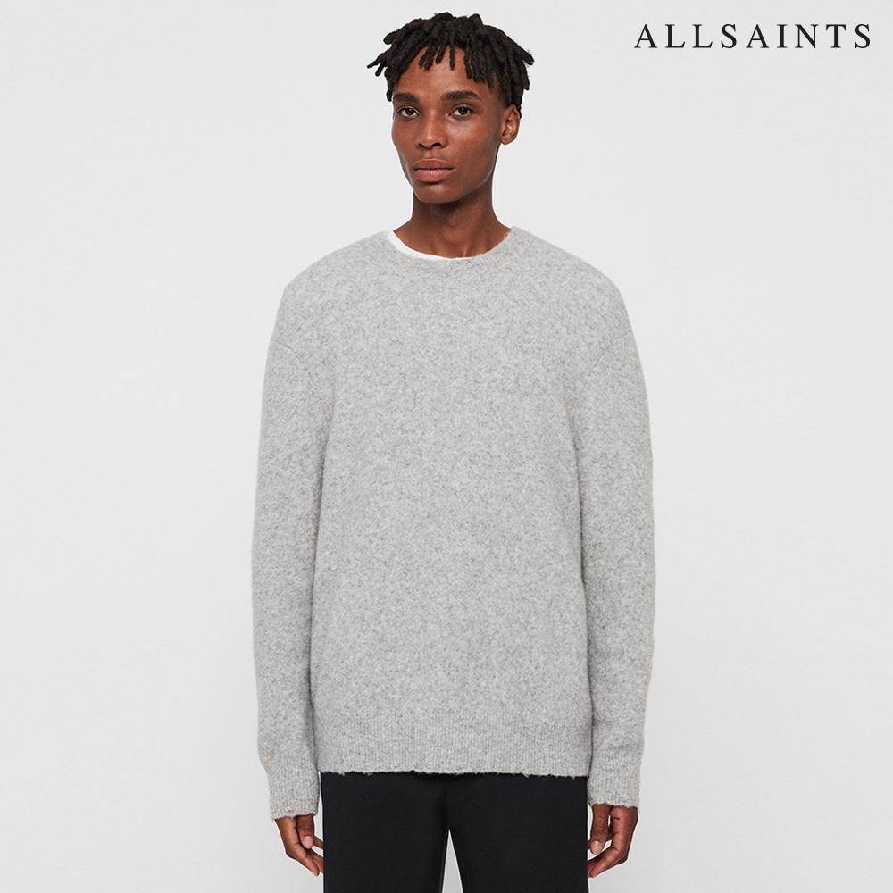 ALLSAINTS KEZ CREW 舒適素面混紡羊毛針織上衣-淺灰