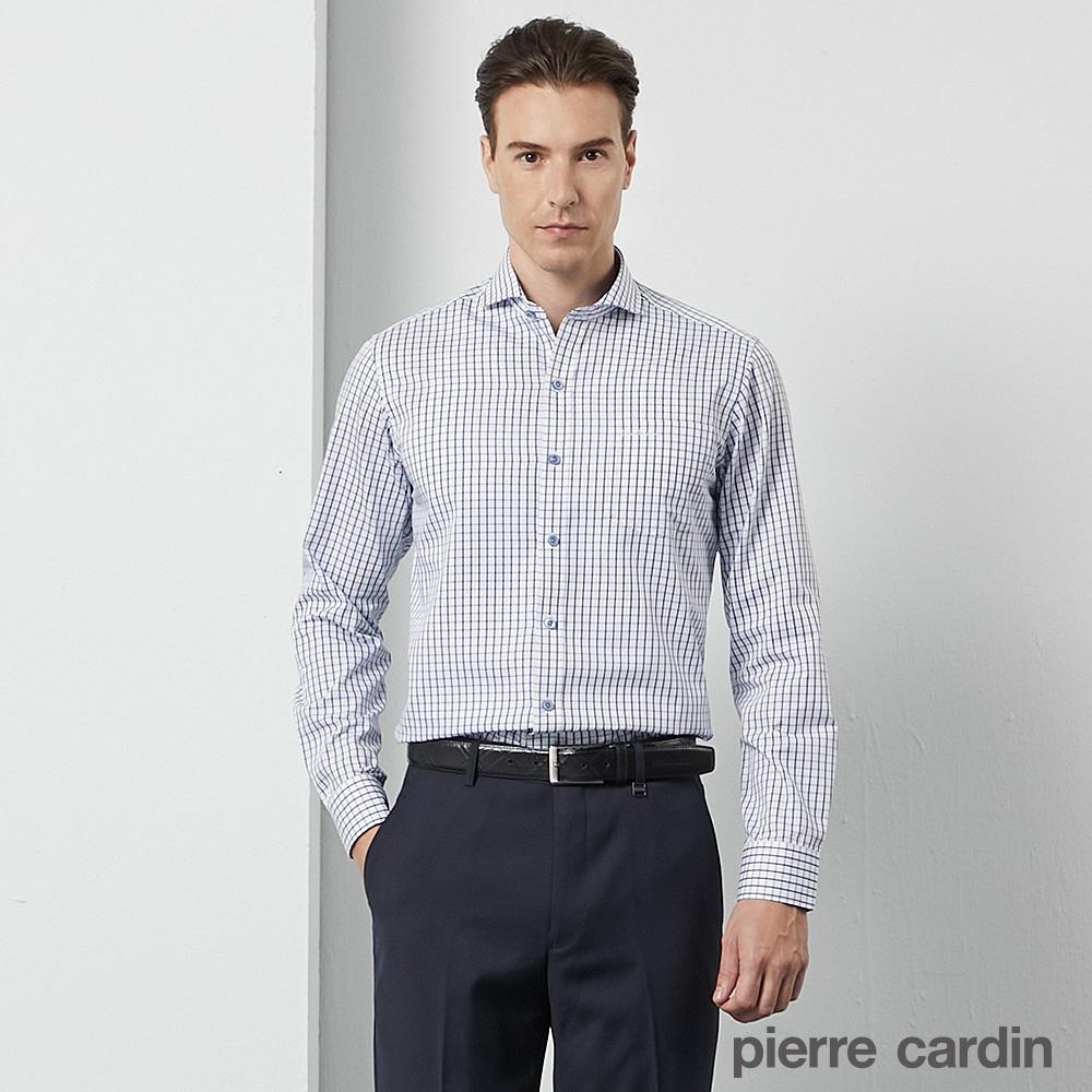 pierre cardin 皮爾卡登 男襯衫 進口素材合身版休閒格紋長袖襯衫_白底藍格(53810-32)