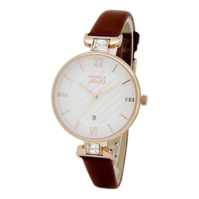 NATURALLY JOJO時尚格紋璀璨腕錶-咖啡/34mm