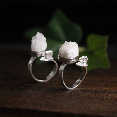 東方美學白水晶冰山小熊情侶款純銀戒指-設計所在