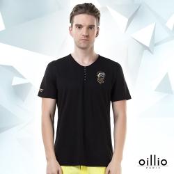 oillio歐洲貴族 短袖T恤 裝飾鈕扣 圖騰圖樣 黑色