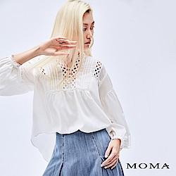 MOMA 縷空雪紡泡袖上衣