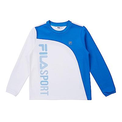 FILA KIDS 童吸濕排汗長袖上衣-白 1TES-8300-WT