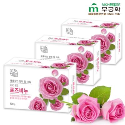 韓國 MKH無窮花 玫瑰保濕美肌皂 3入
