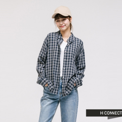 H:CONNECT 韓國品牌 女裝 - 清新細格紋襯衫-藍