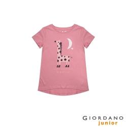 GIORDANO 童裝純棉手繪塗鴉印花T恤-13 薔薇粉紅