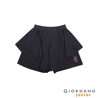 GIORDANO 童裝荷葉邊可愛印花褲裙-66 標誌海軍藍