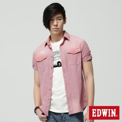 EDWIN 襯衫 細格擦色短袖襯衫-男-紅色