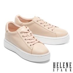 休閒鞋 HELENE SPARK 簡約質感晶鑽綁帶厚底休閒鞋-米