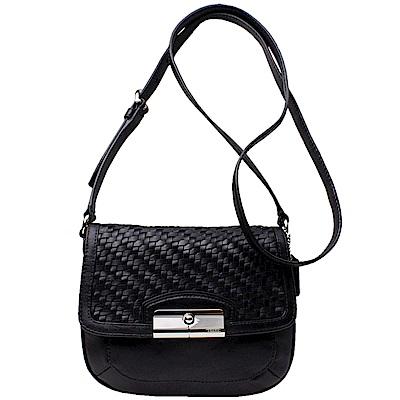 【COACH】專櫃款 皮革編織 翻蓋吸釦輕便小包(黑色)