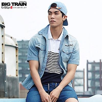 BigTrain 條紋配色POLO衫-男-白色