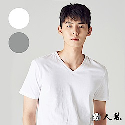 男人幫T0074 白/灰V領100%純棉高磅數厚款素色V領T恤