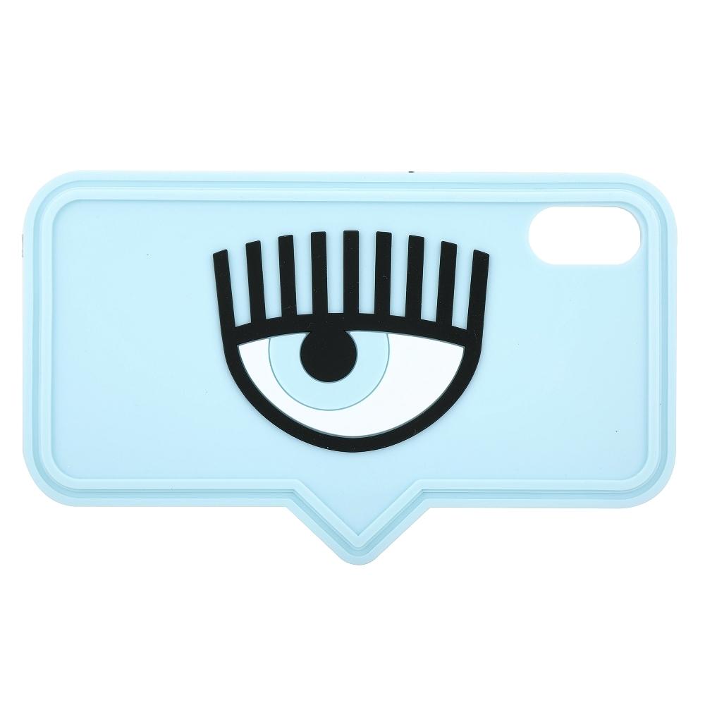 Chiara Ferragni iPhone X/XS 眼睛對話框造型手機保護套(天藍色)