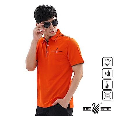 【遊遍天下】男款吸濕排汗抗UV機能POLO衫GS1039桔咖啡