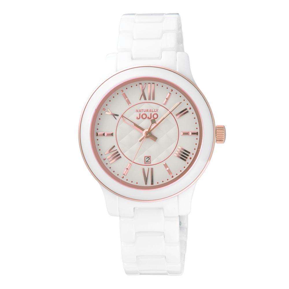NATURALLY JOJO菱格時尚面板陶瓷腕錶-白(JO96947-80R)/36mm