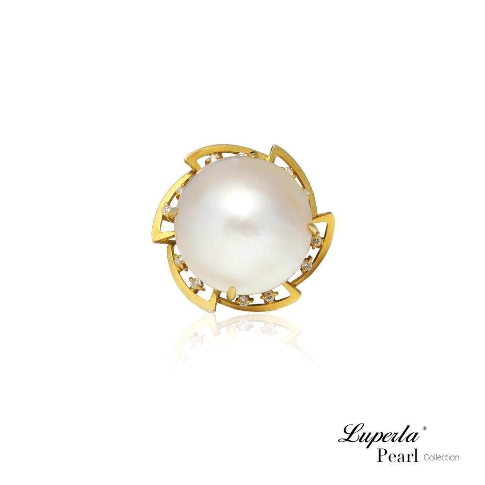 大東山珠寶 海水馬貝珍珠14K金天然鑽石戒指 夢幻之珠 希望之星