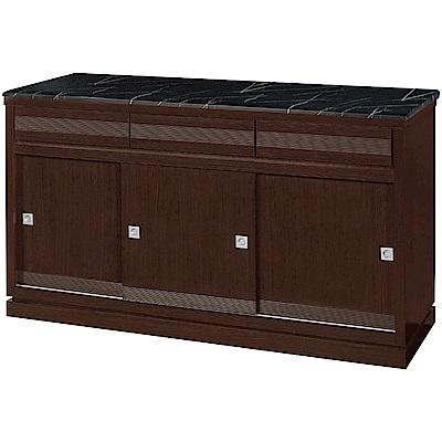 綠活居 帕迪時尚5.1尺雲紋黑石面推門餐櫃/收納櫃-152.5x52x86.5cm免組