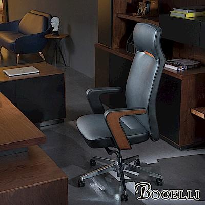 BOCELLI-REGNO境界風尚高背辦公椅(義大利牛皮)經典黑