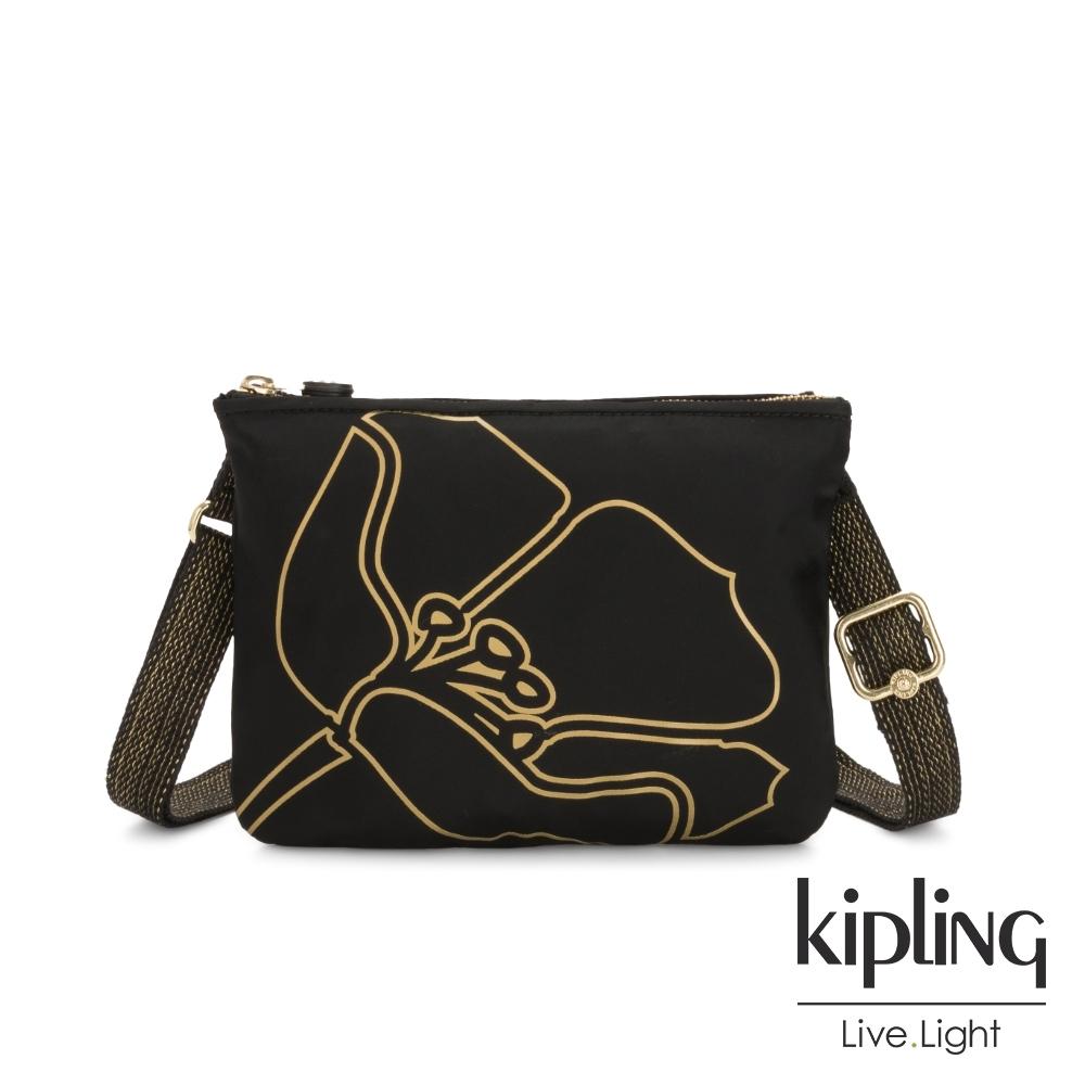 Kipling 黑底金邊勾勒桃花側背方便小包-MAI POUCH