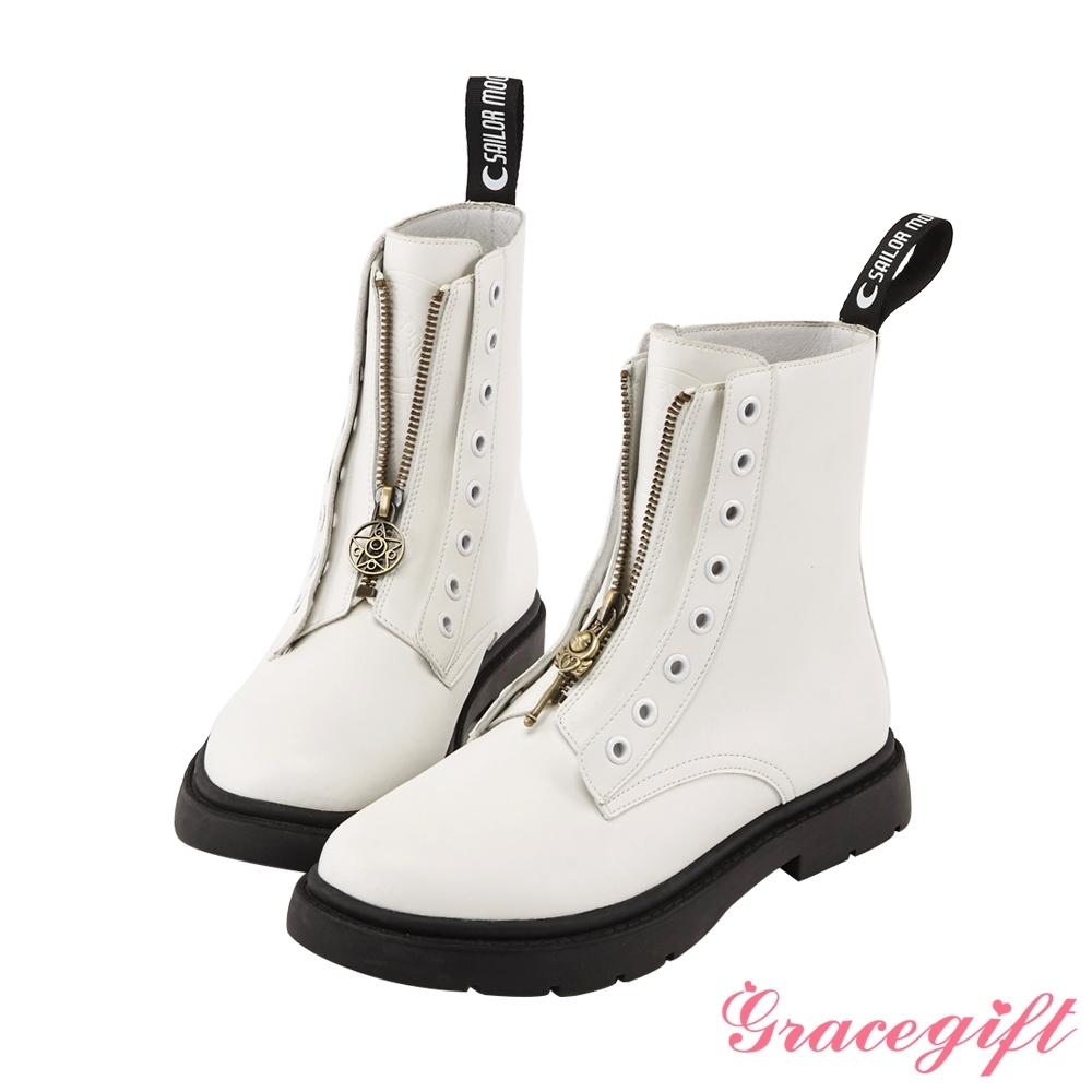 Grace gift-美戰變身器飾釦真皮馬汀馬丁短靴 白
