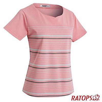 瑞多仕 女款 條紋雞心短袖排汗休閒衣_DB8960 珍珠粉色/米灰色/霧灰色