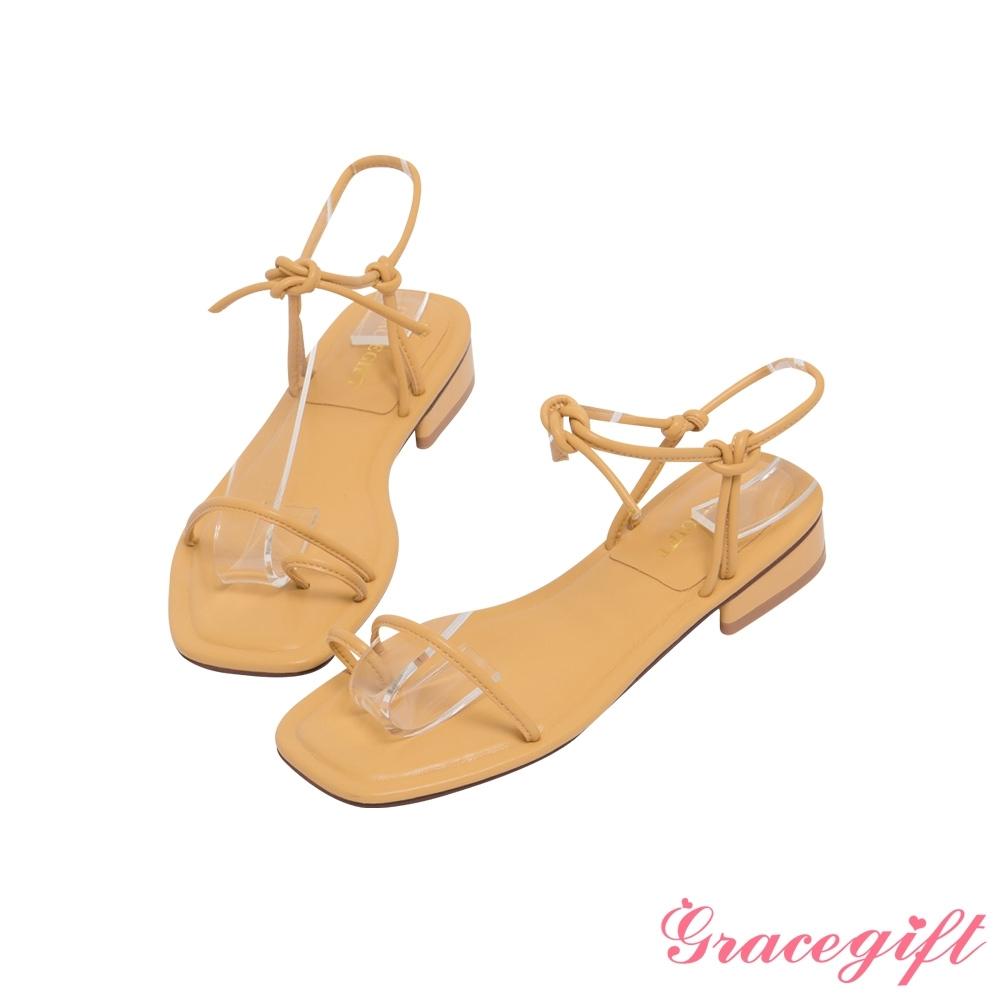 Grace gift-一字套趾綁帶低跟涼鞋 黃