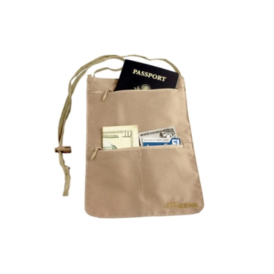 Lite Gear - RFID 掛頸式貼身防搶包 - 咖啡