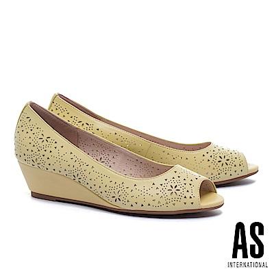 高跟鞋 AS 細緻優雅沖孔羊皮魚口楔型高跟鞋-黃