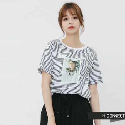H:CONNECT 韓國品牌 女裝 - 彩色圖印條紋T-shirt-藍(快)