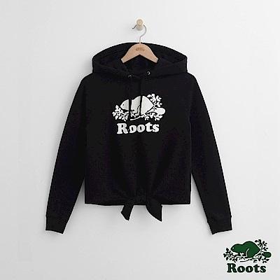 Roots -女裝- 下擺打結帽T - 黑