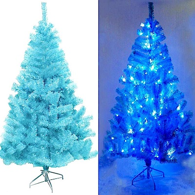 摩達客 8尺豪華版冰藍色聖誕樹+100燈LED燈藍白光3串(附IC控制器)
