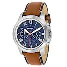 FOSSIL 天才男爵羅馬時標精緻皮革腕錶(FS5210)-藍/44mm