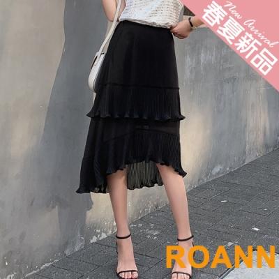 高腰多層次皺褶蛋糕裙 (黑色)-ROANN