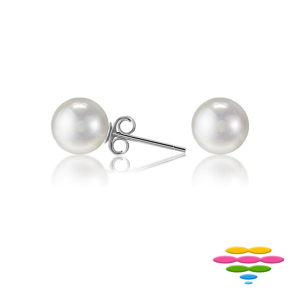彩糖鑽工坊 6-7mm 淡水珍珠耳環 簡愛系列