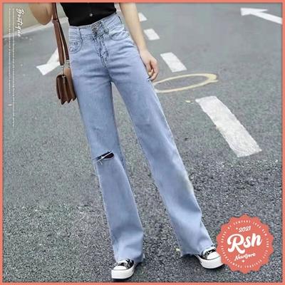 Roush 女生寬版甜美貼布薄料牛仔褲