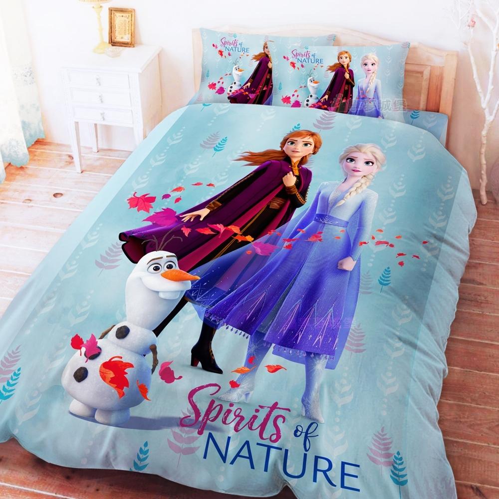 享夢城堡 雙人床包薄被套四件組-冰雪奇緣FROZEN迪士尼 秋日之森-藍