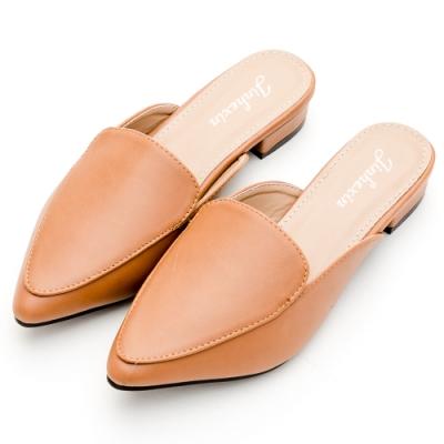 River-Moon穆勒鞋-中大尺碼都會素面低跟尖頭鞋-卡其棕