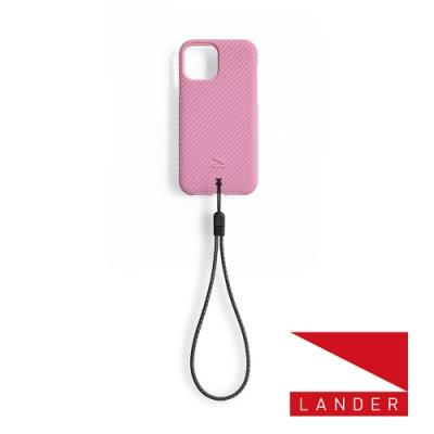 美國 Lander iPhone 12 mini Vise 立體斜紋環保防摔殼 - 櫻花粉 (附手繩)