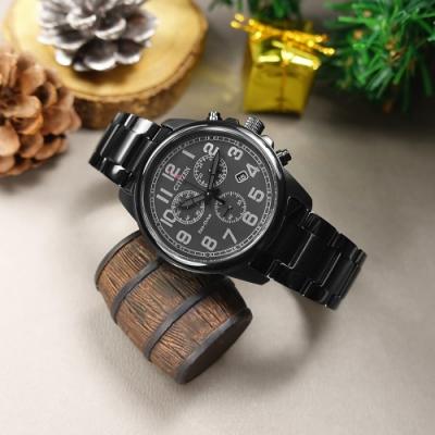 CITIZEN  光動能 三眼計時 日期 防水100米 不鏽鋼手錶-鍍黑/40mm