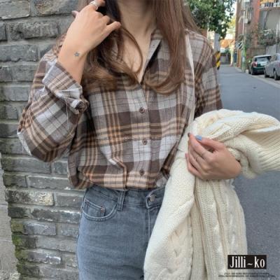 JILLI-KO 復古配色格子襯衫- 灰/綠