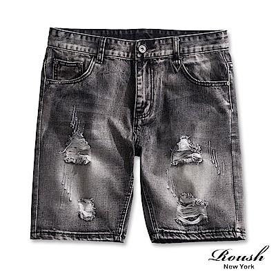 Roush 刷白破損藍灰色牛仔短褲
