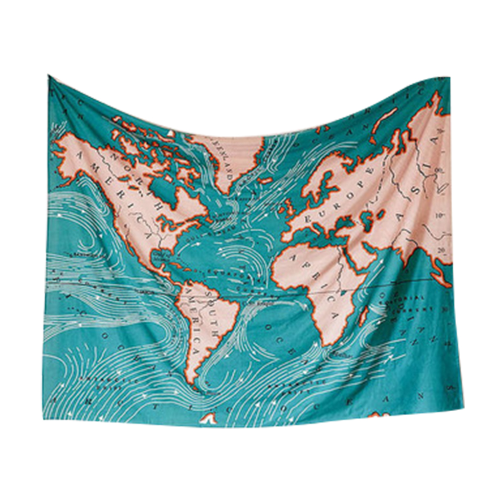 半島良品 北歐風裝飾掛布 世界地圖 125x145cm