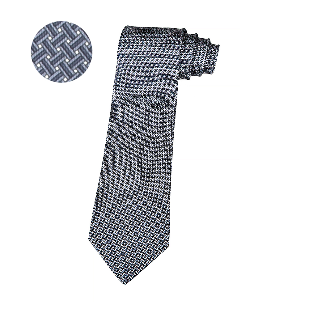 HERMES愛馬仕7 H YOYO經典緹花LOGO交叉織紋設計蠶絲領帶(白x黑)