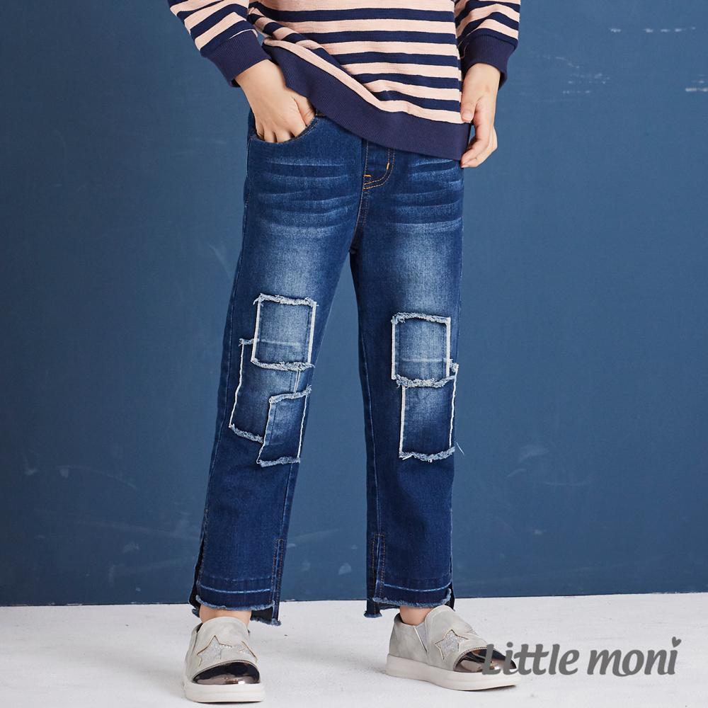 Little moni 個性貼布牛仔長褲 牛仔藍
