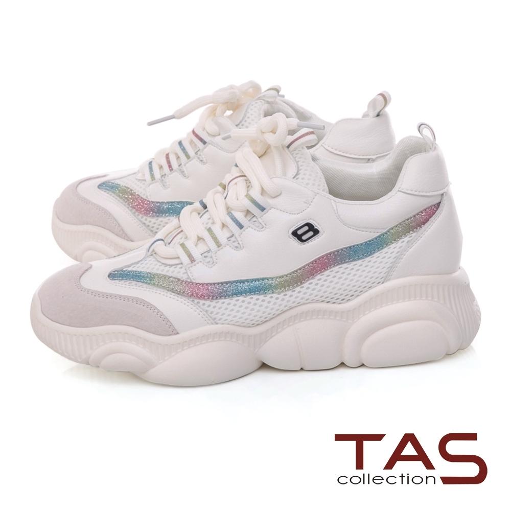 TAS 炫彩拼接透氣網布厚底老爹鞋-經典白