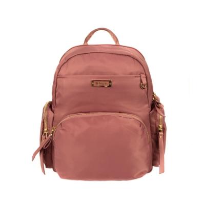 ANGIMI SHOP 後背雙層多口袋實用包 獨特貝兒-乾燥玫瑰粉